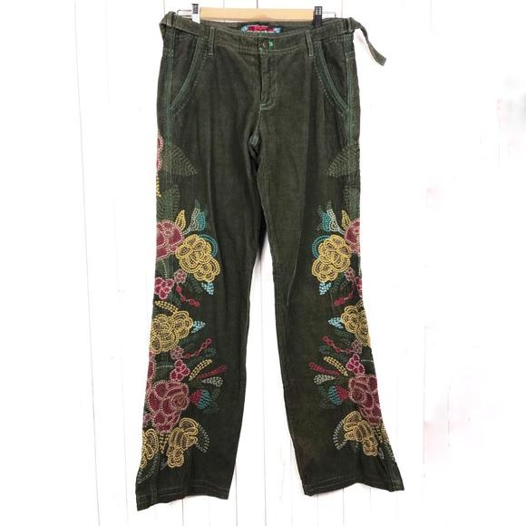 Johnny Was Biya 2 10 10 5 Velvet Embroidered Pants